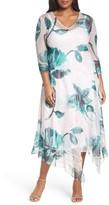 Komarov Plus Size Women's Print Chiffon Handkerchief Hem Dress