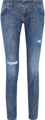 Faith Connexion Glittered Distressed Low-rise Skinny Jeans