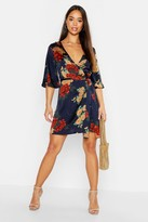 boohoo Satin Floral Satin Wrap Dress