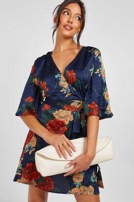 boohoo Satin Floral Satin Wrap Dress