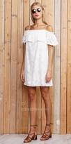 Greylin Estelle Off the Shoulder Frill Jacquard Dress