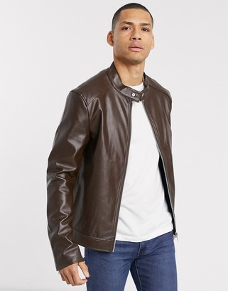 ASOS DESIGN faux leather racer jacket in brown