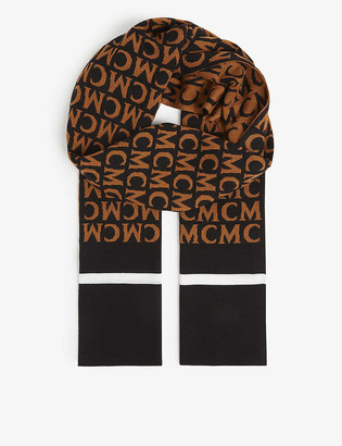 MCM Logo-embroidered wool-knit scarf
