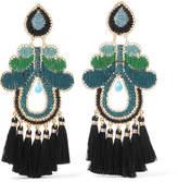 Mercedes Salazar Curubas Tasseled Gold-tone Bead Clip Earrings