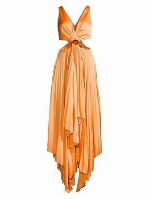 Significant Other Eden Drape Front Side Cutout Handkerchief Maxi Dress