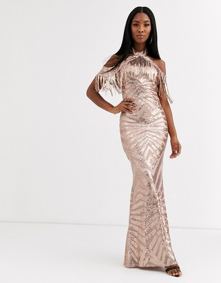 Goddiva cold shoulder maxi dress with tassel detail in gold sequin