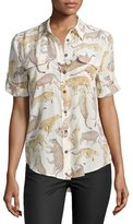 Equipment Slim Signature Short-Sleeve Top, Almond