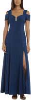 R & M Richards Navy Cutout Sweetheart Gown