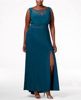 Night Way Nightway Plus Size Illusion-Neckline Empire Gown