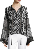 Andrew Gn Patchwork Bell-Sleeve Silk Blouse, Black/White