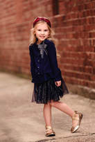 MAE LI ROSE Girls Navy Lace-Cardigan