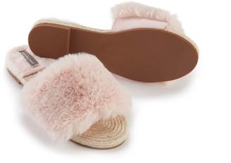Pretty You London Faux Fur Sandal In Pink