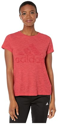 adidas Winners Short Sleeve Crew Tee (Black Melange) Women's Clothing