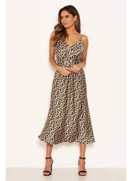AX Paris Women's Leopard Print Silky Midi Dress