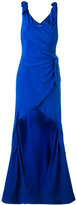 Moschino stepped hem draped evening dress - women - Silk/Acetate/Rayon - 42