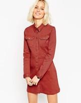 Asos Denim Western A-Line Shirt Dress In Rust