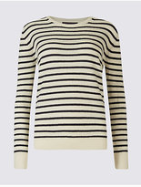M&S Collection Lambswool Rich Striped Round Neck Jumper