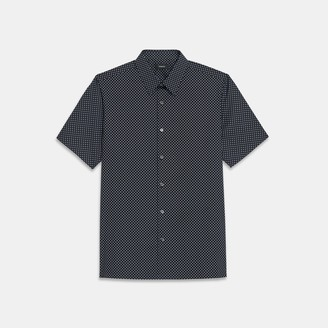 Theory Irving Short-Sleeve Shirt in Printed Stretch Cotton