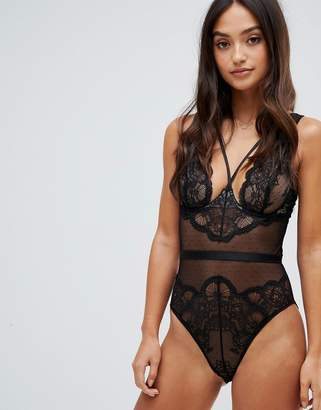 Peek & Beau kristal lace & dot mesh body-Black