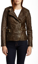 Vince Camuto Quilted Moto Leather Jacket