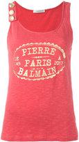 Pierre Balmain metallic logo print tank - women - Cotton - 34