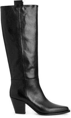 Arket Angled Heel High Leather Boots