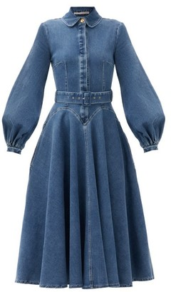 Emilia Wickstead Jewel Belted Balloon-sleeve Denim Dress - Denim