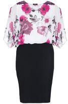 Quiz Curve Cream And Pink Chiffon Bubble Midi Dress
