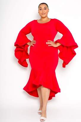 Couture Buxom Angel Sleeve Dress in Red Size 3X
