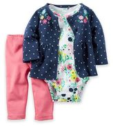 Carter's Size 12M 3-Piece French Terry Floral Dot Jacket, Bodysuit, and Pant Set in Blue