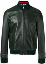 Gucci leather bomber jacket - men - Lamb Skin/Polyamide/Spandex/Elastane/Wool - 48