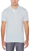 Perry Ellis Non-Iron Jacquard Open Collar Short-Sleeve Polo Shirt