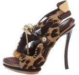 Louis Vuitton Leopard Lace-Up Sandals