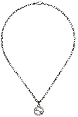 Gucci Interlocking Textured G Sterling Silver Pendant Necklace