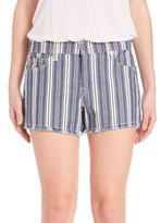 7 For All Mankind Striped Cut-Off Shorts
