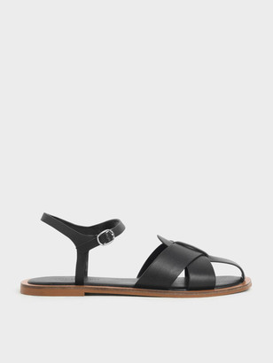 Charles & Keith Peep Toe Flat Sandals