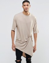 Asos Extreme Longline T-Shirt With Popper Drape Detail In Beige