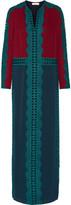 Tory Burch Evalene Guipure Lace-trimmed Silk-georgette Maxi Dress - Burgundy
