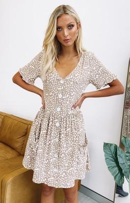 Beginning Boutique Orbit Button Up Dress Tan