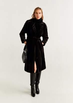MANGO Belted faux fur coat chocolate - XS - Women