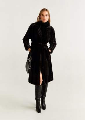 MANGO Belted faux fur coat chocolate - XXS - Women
