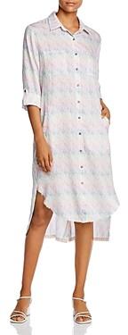 BILLY T Frayed High/Low Shirt Dress