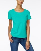 Karen Scott Cuffed Cotton Active T-Shirt, Only at Macy's