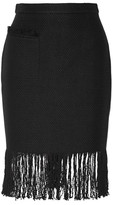 ADAM by Adam Lippes Fringed linen and cotton-blend tweed skirt