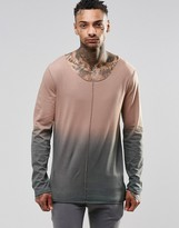 Asos Longline Long Sleeve T-Shirt With Dip Dye And Raw Edge Seam Detail