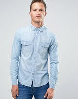 Celio Long Sleeve Slim Fit Denim Shirt
