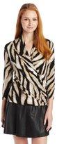 Chaus Women's 3/4 Sleeve Cross Wrap Etched Zebra Top