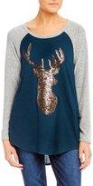 Moa Moa Cozy Sequin-Embellished Christmas Reindeer Top