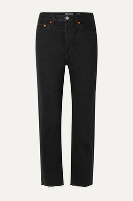 RE/DONE Rigid Stove Pipe High-rise Straight-leg Jeans - Black