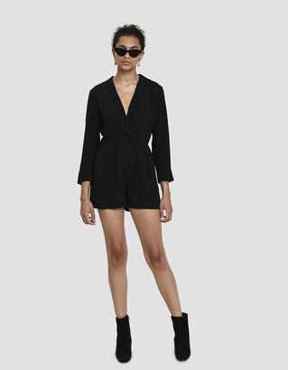 Stelen Women's Naveen Surplice Romper in Black, Size Medium